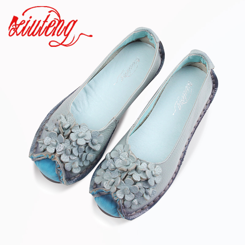 Xiuteng 2018 Summer Soft Moccasins casual shoes women Flowers High Quality Brand Genuine   Leather   Shoes lady Flats Driving Shoes
