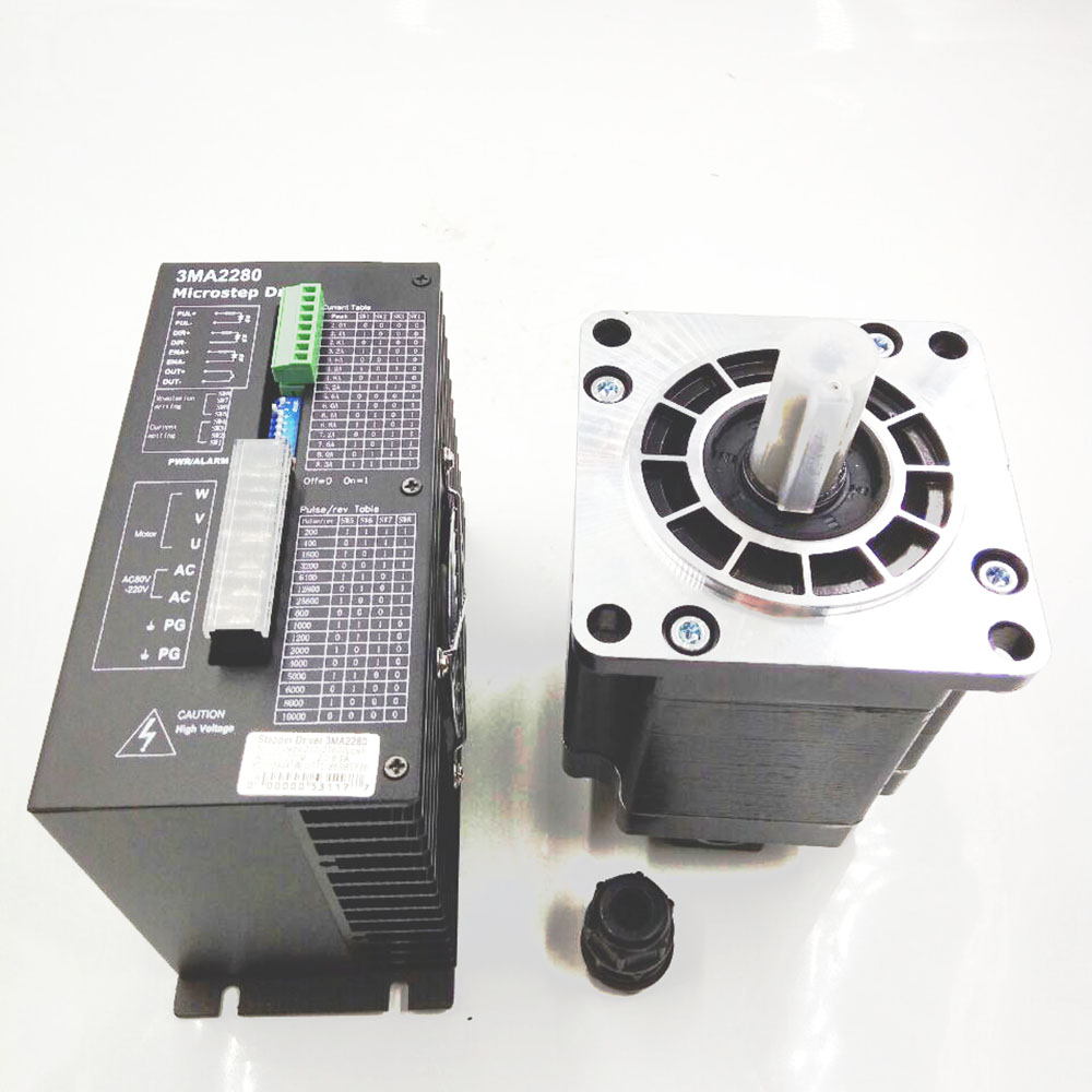 3 Fase CNC Stepper Motor + Drive kits NEMA 52 130mm 50Nm AC Motor De Passo Com Motorista 1.2 Graus 6.9A 3M2280-10A + 130BYGH350D