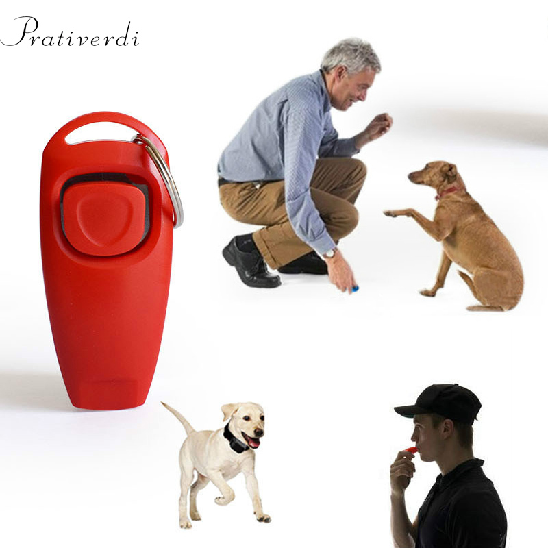 2 In 1 Pet Dog Training Clicker Pet Dog Cat Training Whistles Key Ring and Wrist Strap Pet Dog Trainings behavior pet Supplies
