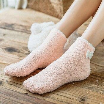 Soft Warm Cozy Bow Fuzzy Fleece-lined Socks