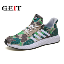 New Arrival Men Running Shoes Lace Up Light Weight Outdoor Sports Shoes Breathable Anti Slip Sneakers Camouflage Jogging Shoes li ning 2018 men color zone cushion running shoes breathable mono yarn li ning light weight sports shoes sneakers arhn101
