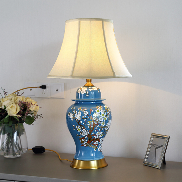 Vintage Chinese Porcelain Ceramic Table Lamp Bedroom Living Room Wedding Jingdezhen Antique