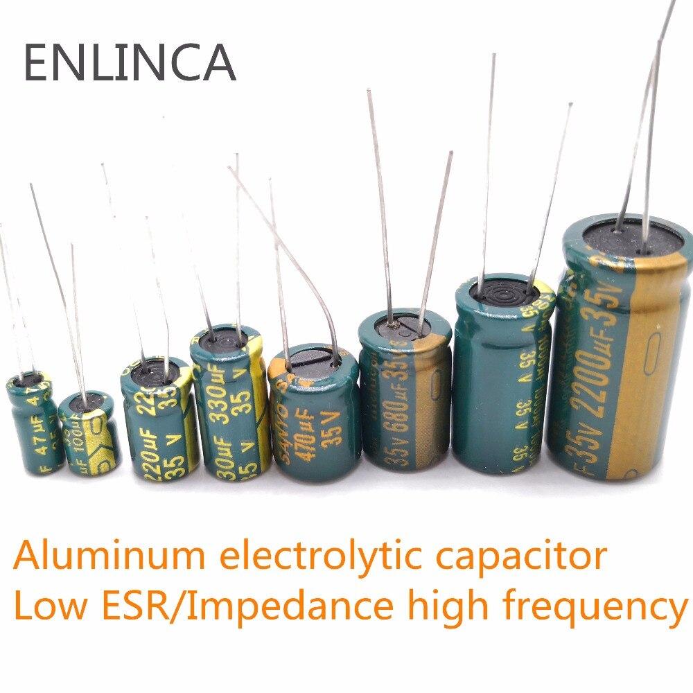 Купить с кэшбэком 5-20pcs 10V 16V 25V 35V 50V Low ESR high frequency aluminum capacitor 47UF 100UF 220UF 330UF 470UF 680UF 1000UF 1500UF 2200UF