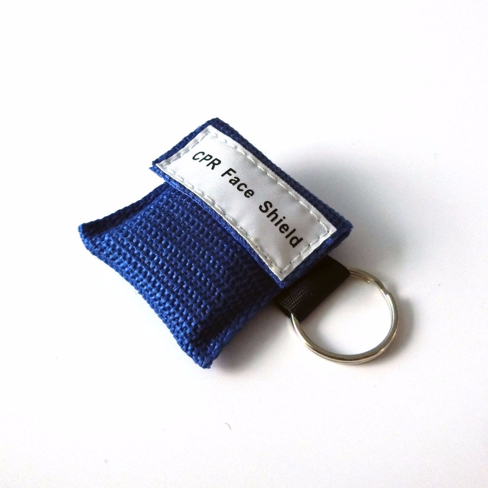 500Pcs CPR Mask Cpr Face Shield One-way Valve With Keychain For Emergency Survival Use CPR First Aid Blue Nylon Bag Wrapped