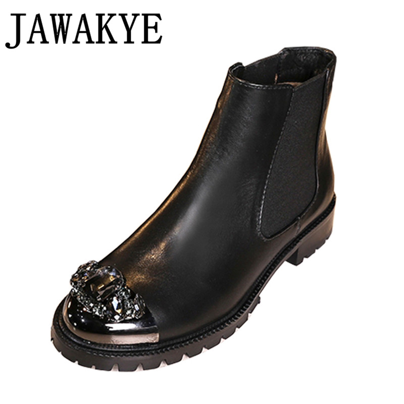 Genuine leather Short Boots flat heel metal crystal round toe Ankle Boots for women cool rhinestone