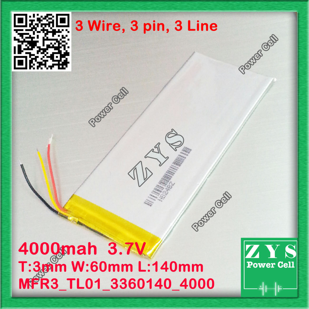 3 wire,3360140 <font><b>3.7V</b></font> <font><b>4000mah</b></font> Lithium polymer <font><b>Battery</b></font> with Protection Board For PDA Tablet PCs Digital Products Free Shipping image