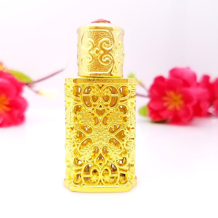 3ml Retro Hollow Flower decoration Gold/Silver Plating Antiqued Empty Glass Bottle with jewel stone Vintage Wedding Gift Bottles stylish flower decoration hollow overcoat