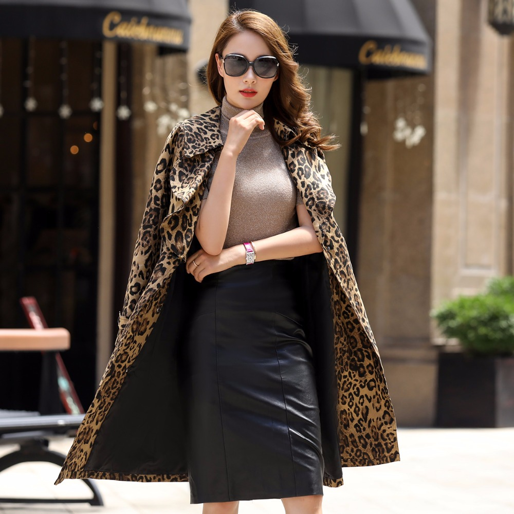 2018 spring new large size fashion leopard print windbreaker female slim long single breasted trench coat with belt 5032