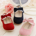 Fashion pearl children shoes girls shoes sweet bowknot princess girls single shoes kids baby shoes flats