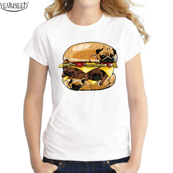 YEMUSEED New Puppy Burger T-shirt Women Girl Punk Lovely T shirt Cool Tops Short Sleeve Hipster Tees FFV03