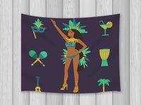 Cartoon Decor Tapestry Braziliaanse Vrouw voor Kostuum Samba Viering Carnaval PartyWall Art Opknoping voor Slaapkamer Woonkamer