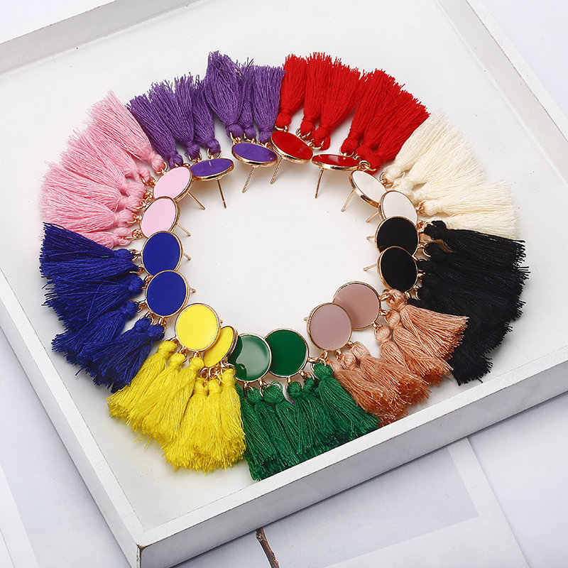 9 Colors Tassel Earrings Dangle Round Ethnic Bohemian Long Earrings for Women Big Fringed Drop Earrings Vintage Jewelry Brincos