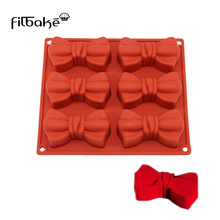 FILBAKE New 6 Cavity Bowknot Silicone Molds For Cake  Pastry Tool Baking Moulds jelly Dessert Soap Decotrating Tools