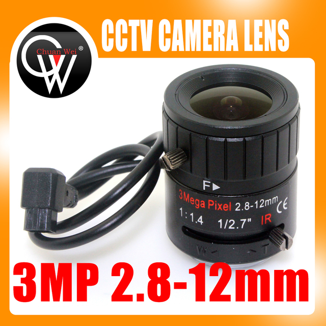 3MP 2.8 12mm HD 3.0 megapixel Auto Iris varifocale IR metalen CS CCTV lens, F1.4, voor Veiligheid cctv camera