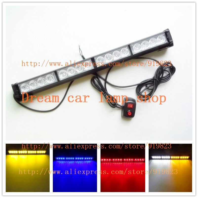 Yellow White Blue Amber Red Green 16 LED High Power Strobe Light Fireman Flashing Police Emergency Warning <font><b>Fire</b></font> Flash Car Truck