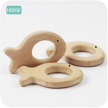 MamimamiHome Baby Montessori Toys Beech Wooden Fish 10pc Teether Bracelet Play Gym Accessories Toy For A Stroller Baby Rattles
