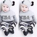 Горячая Младенческая Малышей Одежда для Новорожденных Мальчики Девочки С Длинным Рукавом + Длинные Брюки Hat 3 ШТ. Костюмы Комплект Одежды 2017