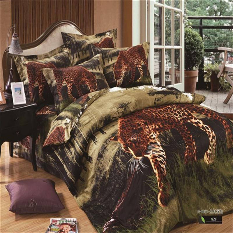 3D Leopard Print Bedding Set For Full/Queen Size Bed,Unique Jungle Animal  Cheetah 100% Cotton Duvet Cover Bed Sheets Pillow Case In Bedding Sets From  Home ...
