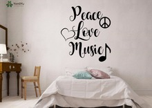 YOYOYU Wall Decal Peace Love Music Quote Wall Stickers For Bedroom Home  Decoration Accessories Fashion Modern
