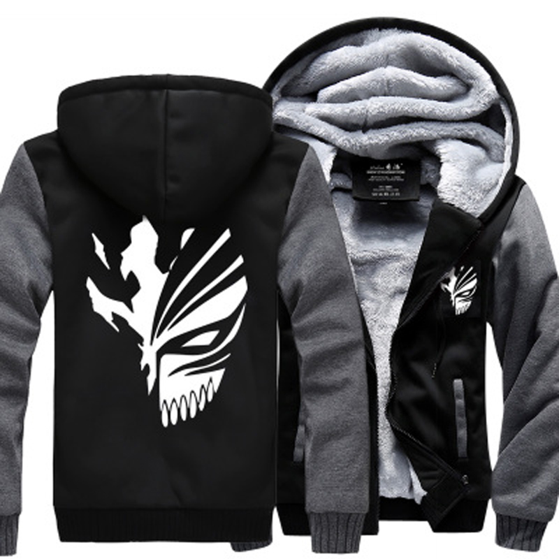 Anime Bleach Men Sweatshirts 2019 winter thicken fleece Kurosaki Ichigo hoodies men hip hop fashion Zippered hoodie for fans