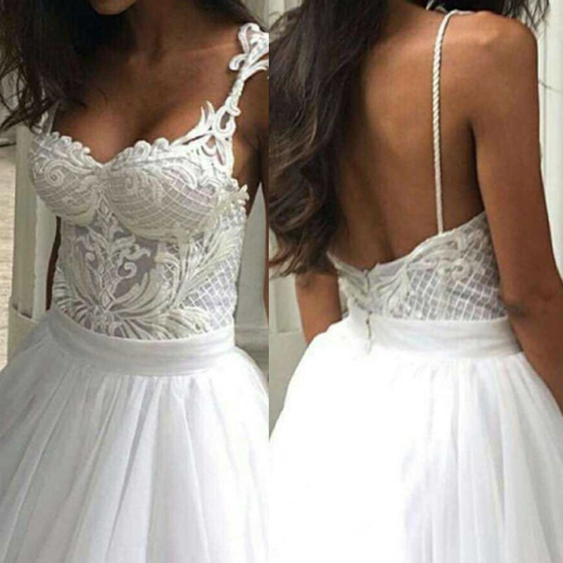 BeryLove Ball Gown White Wedding Dresses 2018 Spaghetti Straps Tulle Lace Wedding Gowns Women Bridal Party Dress Wedding Dress