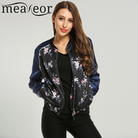 Meaneor Women Long Sleeve Stand Collar Zip Up Floral Print Casual Bomber Jacket Coat 2018 Spring