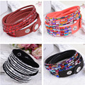 bohemia design multi colors red blue black leather pave alloy shine rhinestone glass charms adjustable double bangle for women