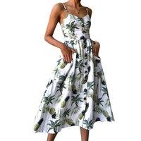 Summer 2018 Strap Print Floral Dot Long Boho Bohemian Beach Dress Women Sundress Sexy Casual Loose
