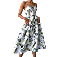 Summer 2018 Strap Print Floral Dot Long Boho Bohemian Beach Dress Women Sundress Sexy Casual Loose