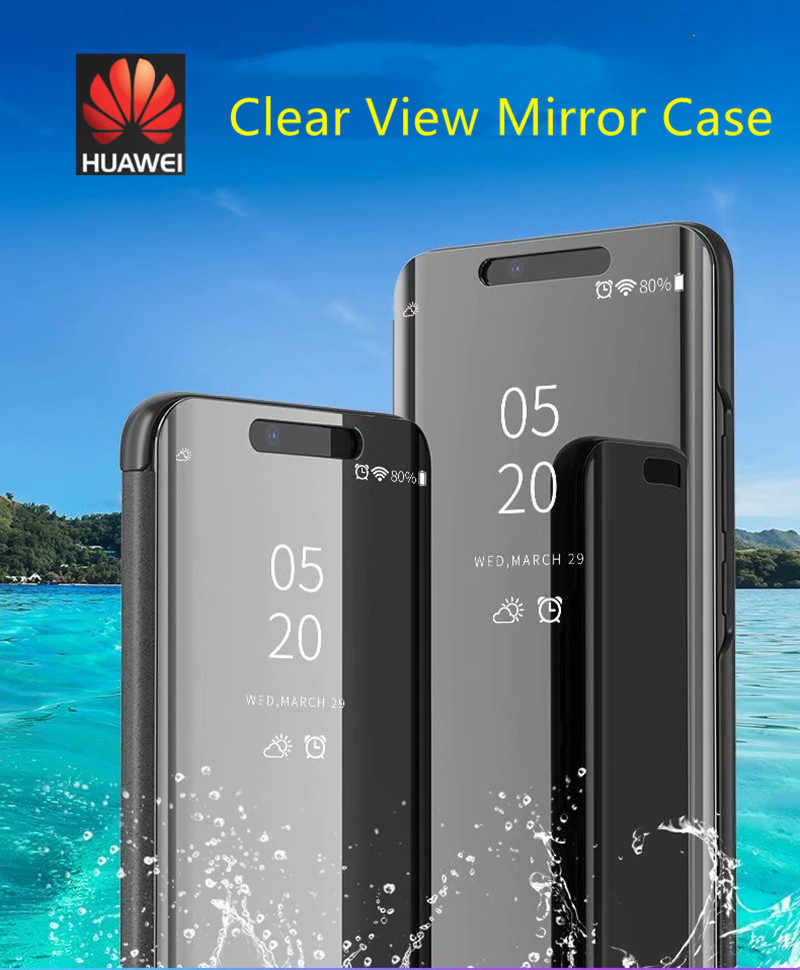 P Smart Clear View Mirror Case  Huawei P8 P9 P10 P20 Lite 2017 Plus For Mate 10 20 lite pro honor 10 9 8 nova 3 3i flip Case