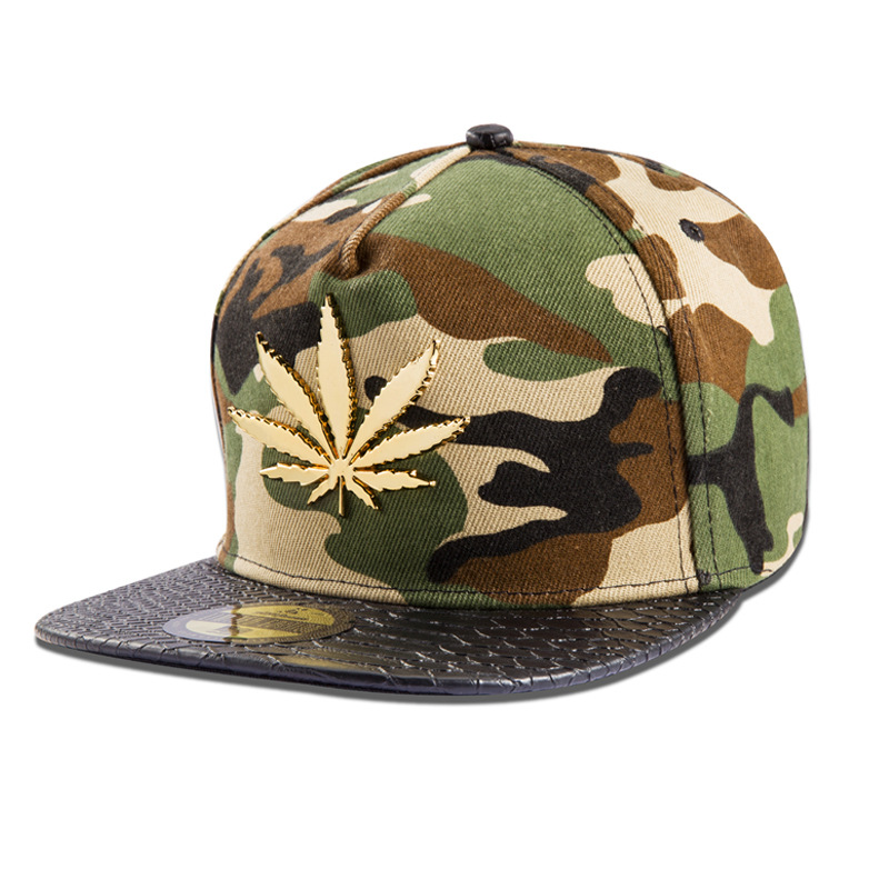 Wholesale Men Women Cotton Golden Hemp Leaf Snapback Hats Gorras Golf Weed Camouflage Baseball Caps Sports hip hop hat Gifts