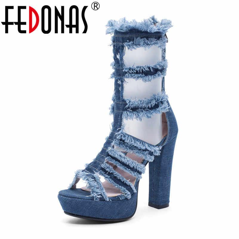 FEDONAS Kadın Sandalet Seksi Moda Orta Buzağı Çizmeler Denim Süper Yüksek Topuklu Yaz Parti Gece Kulübü Ayakkabı Kadın Kare topuk Pompaları