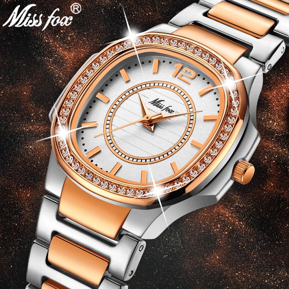 MISSFOX Rose Gold Watch Women Quartz Watches Ladies Top Brand Luxury Stainless Steel Female Wrist Watch Girl Golden Clock Hours