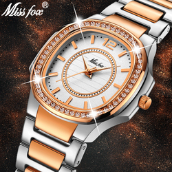 MISSFOX Rose Gold Watch Women Quartz Watches Ladies Top Brand Luxury Stainless Steel Female Wrist Watch Girl Golden Clock Hours