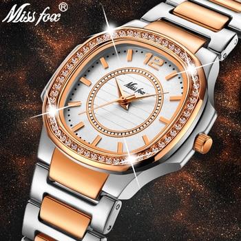 MISSFOX Rose Gold Watch Women Quartz Watches Ladies Top Brand Luxury Stainless Steel Female Wrist Watch Girl Golden Clock Hours дамски часовници розово злато