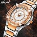MissFox розовое золото часы Для женщин кварцевые часы дамы лучший бренд класса люкс Нержавеющаясталь женские наручные часы для девочек золот...