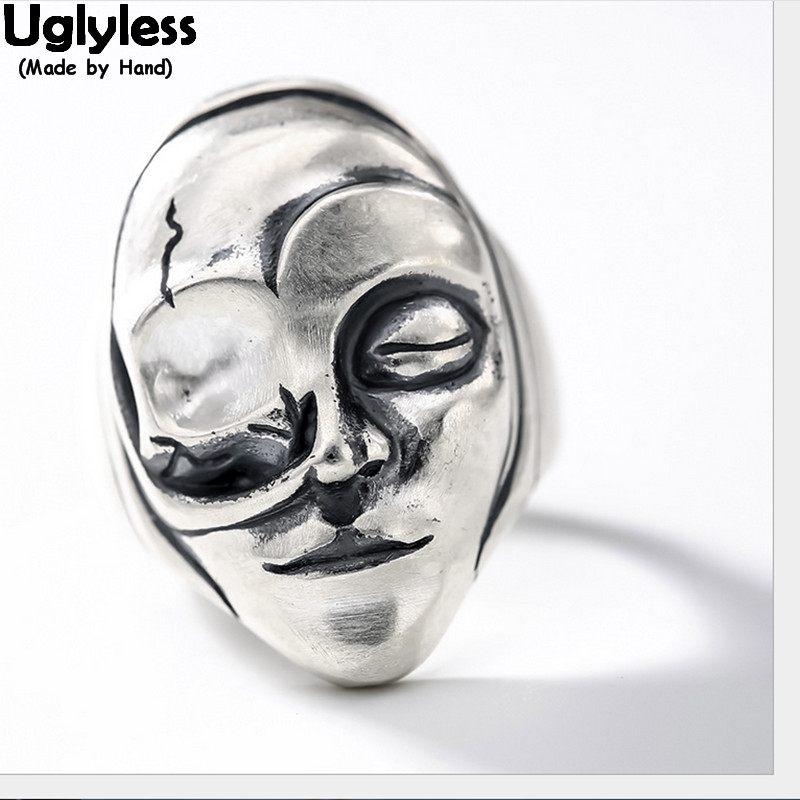 Uglyless 100% Real Solid 925 Sterling Silver Handmade Face Open Rings Unisex Punk Finger Ring Hip hop Fine Jewelry Figure Ring