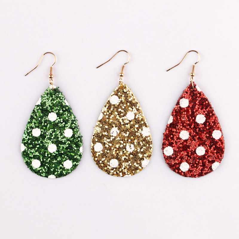 2019 New Fashion Red Green Glitter Sequins Teardrop Leather Earrings For Women Girls Light Weight Christmas Earrings Jewelry