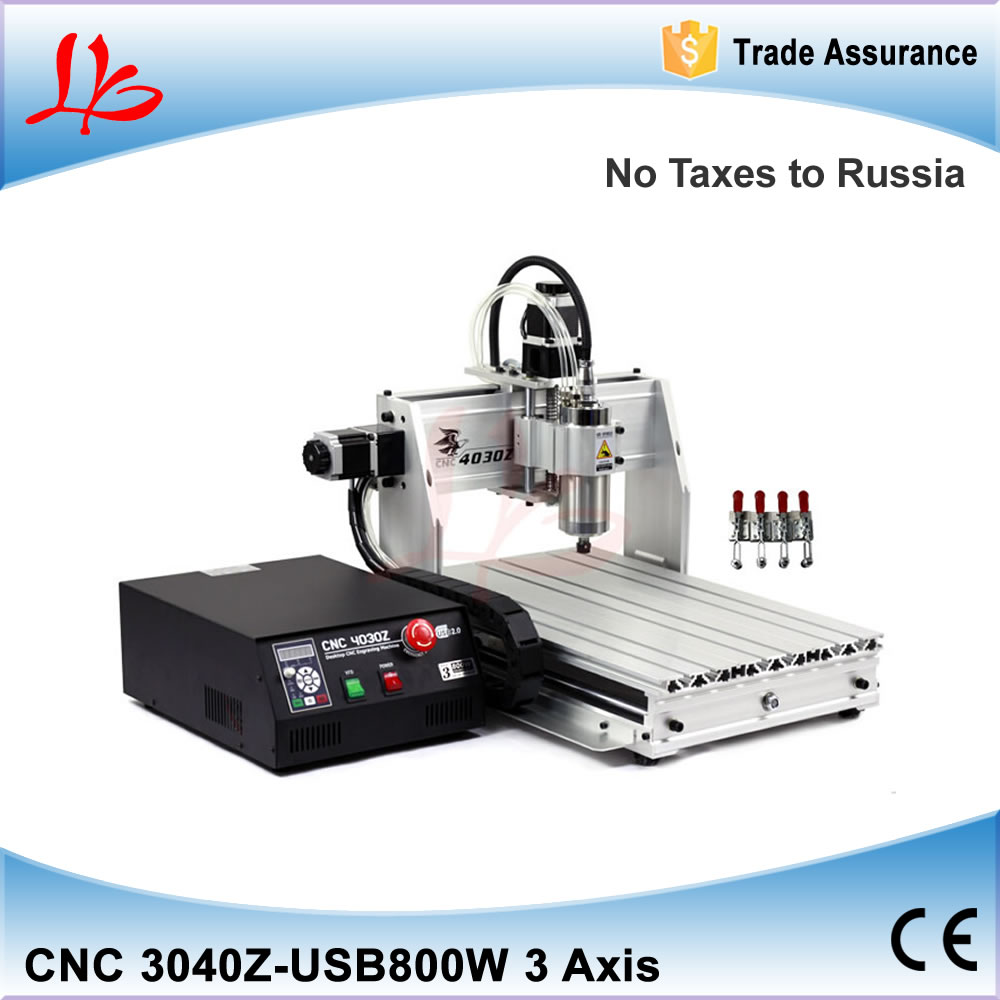 Russia No tax! 3 axis cnc milling machine 3040 with ball screw, 800w water cooled spindle, support usb port russia no tax best design vfd controller 6040v 4 axis cnc router machine with 1500w water cooled spindle