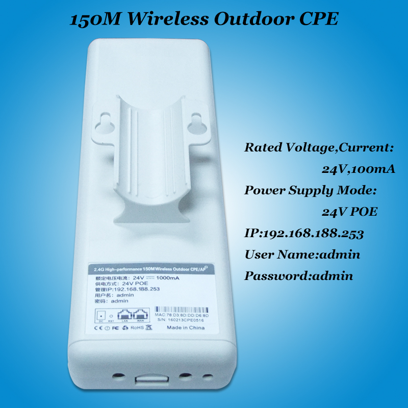 High speed wifi bridge CPE 150Mbps 2.4G wi fi ethernet 15Dbi ...