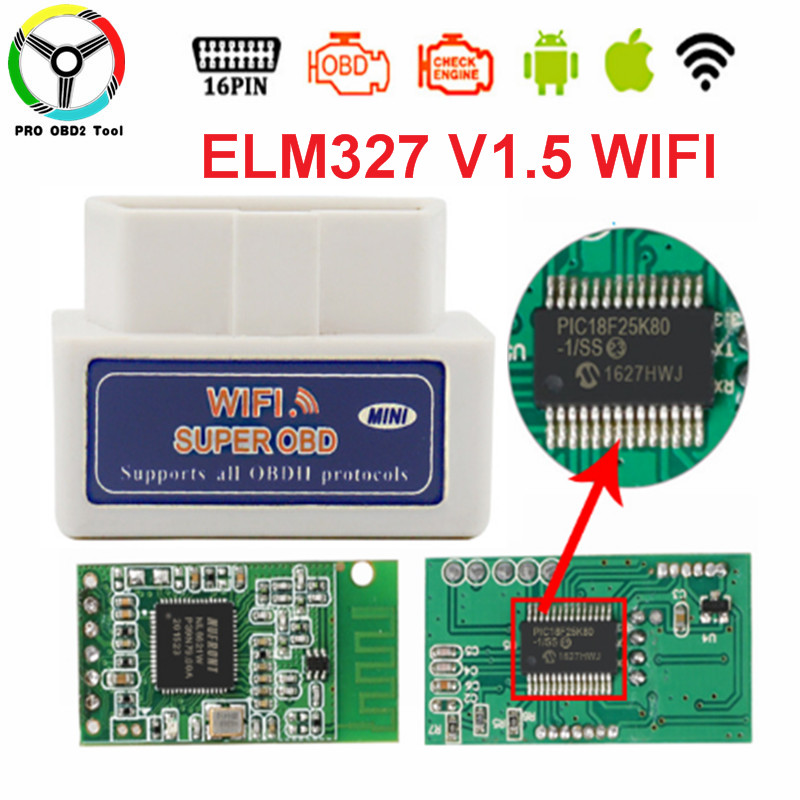 Real ELM327 PIC18F25K80 Chip Super Mini OBD2 ELM327 WIFI V1.5 Hardware Works Android/iOS Support All OBD-II Protocols