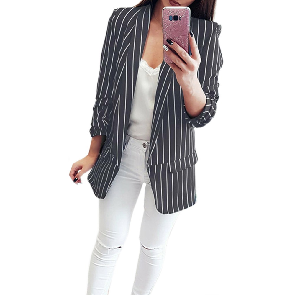 Blazer Women Suit New Casual Black And White Striped Women Blazers And Jackets Coat Top Lapel Cardigan Long Sleeve Blazer Mujer