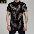Summer cutout carved silk shirt thin stand collar men's clothing silk feather cutout pattern shirt slim male