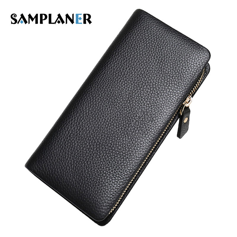 Samplaner Business Male Wallet Genuine Leather Men Long Purse Multi-card Bits Clutch Bag Coin Phone Pocket Wallets Mens Cuzdan business men wallet long designer double zipper leather male purse brand mens clutch handy bag luxury wallets carteira masculina