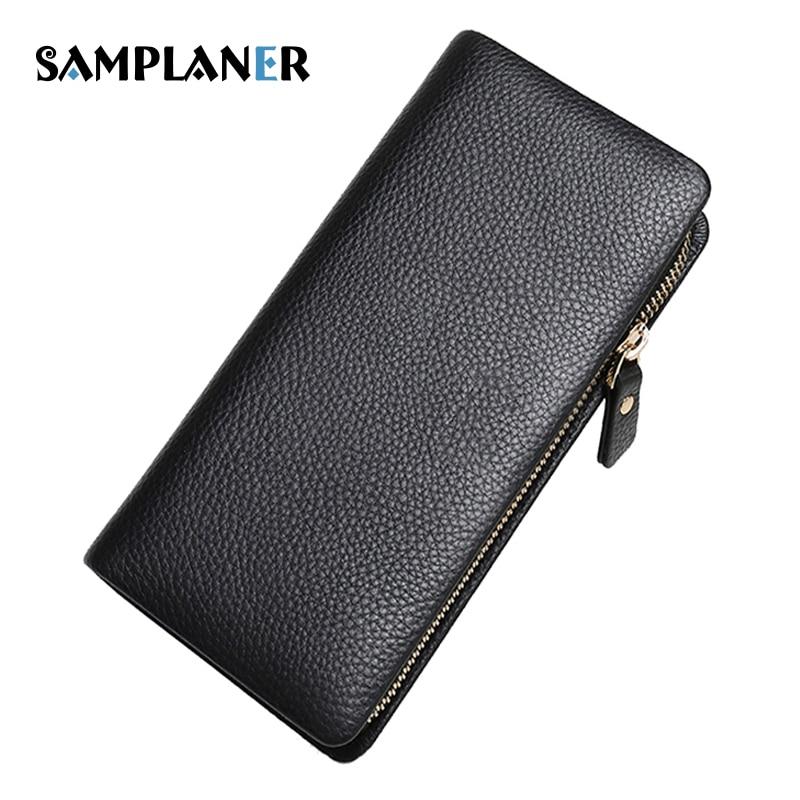 Samplaner Business Male Wallet Genuine Leather Men Long Purse Multi-card Bits Clutch Bag Coin Phone Pocket Wallets Mens Cuzdan