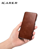 ICarer For Samsung S8 Case Luxury Genuine Leather Hard Armor Shockproof Flip Back Phone Case