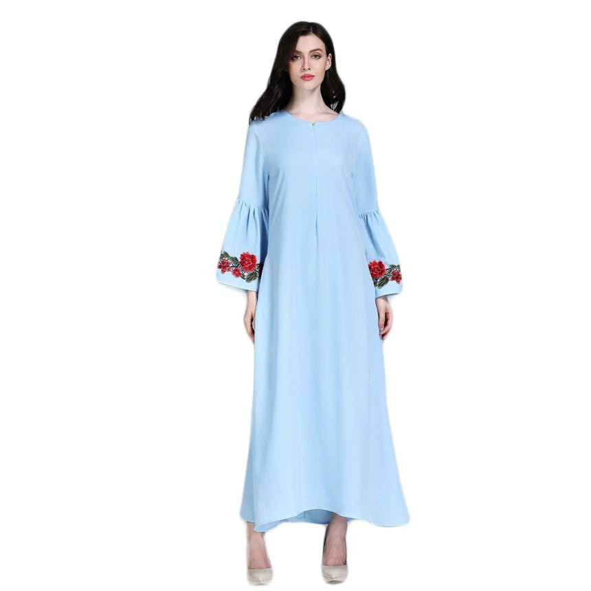 Plus Size Muslim Long Maxi Dress Women Floral Embroidery Long Butterfly Fleeve Formal Party Dress Retro O Neck Loose Dresses#30