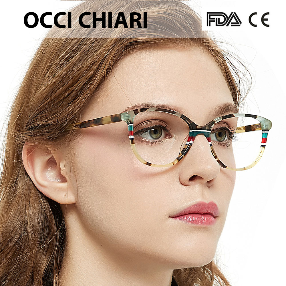 OCCI CHIARI Italy Design Spring Hinges Prescription Lens Medical Optical Eyeglass Woman Frame Stripes Colorful Navy Red W-CORRU