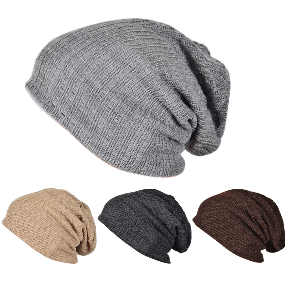 Warm Winter Casual Cotton Knit Hats For Women Men Baggy Beanie Hat Crochet Slouchy Oversized  Cap Warm Skullies Hat Whoesale winter casual cotton knit hats for women men baggy beanie hat crochet slouchy oversized cap warm skullies toucas gorros w1