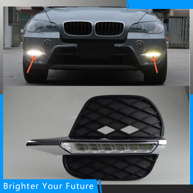 Car Accessories Waterproof Daylights For BMW X5 2011-2013 White Daytime Running Lights DRL Front Fog Lamp boomboost daytime running lights car styling for h onda f it 2011 2013 driving daylights